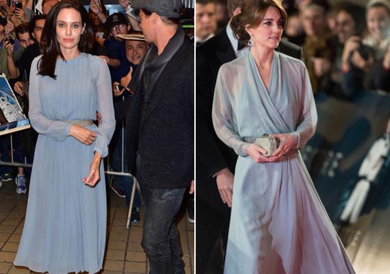 A Spectre című James Bond-film premierjén vette fel ezt a légies, kék színű ruhát a hercegné. Angelina Jolie követte a példáját, By the Sea című filmje bemutatójára ő is hasonló ruhát húzott.