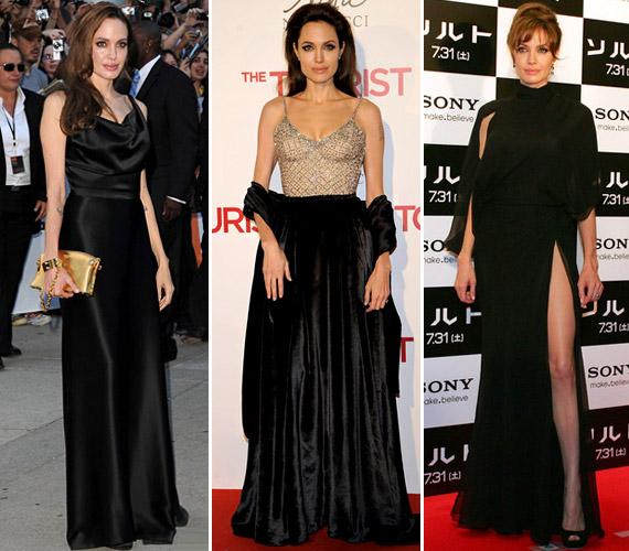 Angelina Jolie kedvenc színe a fekete, mely a legkülönbözőbb anyagokkal és fazonokkal variálva cseppet sem hat unalmasnak karcsú alakján.