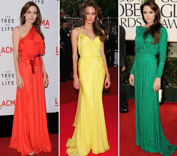Ugyanakkor az élénk, vidám színek is remekül állnak neki: a sárga és vörös ruhákat egy-egy premieren, a smaragzöld nagyestélyit pedig a 2011-es Golden Globe-gálán viselte.