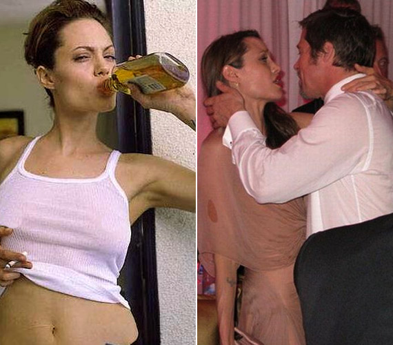Olykor Angelina Jolie-val is előfordul, hogy a pohár fenekére néz, ezt támasztják alá nemrég előkerült fotói is.