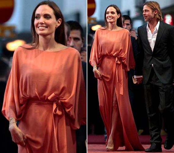 A negyven-egynéhány kilós színésznőn szemmel láthatóan lötyögött a gyönyörű Elie Saab estélyi, vézna karjai szinte eltűntek a ruha bő ujjában.
