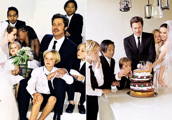 Esküvőjükön is a kicsik voltak a főszereplők. Ők tervezték meg édesanyjuk menyasszonyi ruháját, és a torta dekorálásában is segítettek. A képeken látszik, hogy milyen nagy, boldog családot alkotnak.