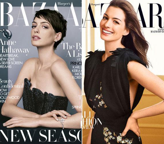 Összehasonlítva egy, a Harper's Bazaar magazinnak készült korábbi címlappal, látványos a különbség a szende és a vamp Anne Hathaway között.