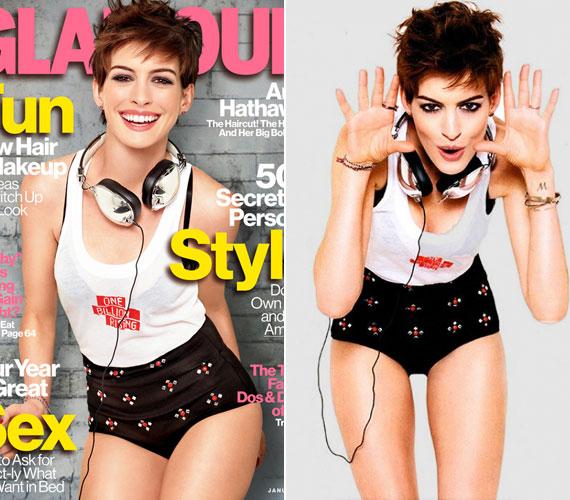 A Glamour februári számában is tőle szokatlan külsővel szerepel.