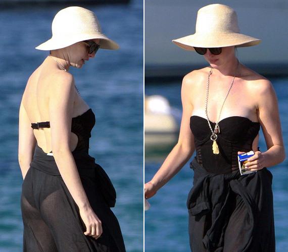 Az Oscar-díjas színésznő tudja, mitől döglik a légy! Hihetetlenül jó érzékkel választotta ki a fürdőruhához legjobban illő kiegészítőket, amitől a strandon elegáns maradt.
