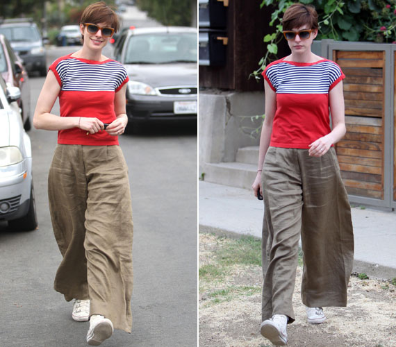 Karcsú alakján nem csak a nadrág, de a piros, csíkokkal kombinált, csónaknyakú póló sem állt jól: a vállait a valósnál is keskenyebbnek mutatta.