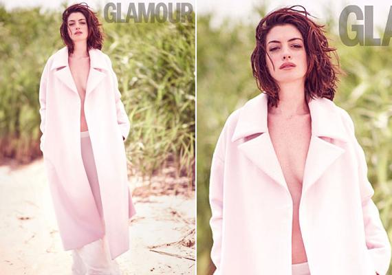Anne a parton sétál szétnyitott, rózsaszín kabátban. Merész húzás volt melltartó nélkül felvenni ezt a ruhadarabot, főleg az ártatlanságáról híres színésznőtől.