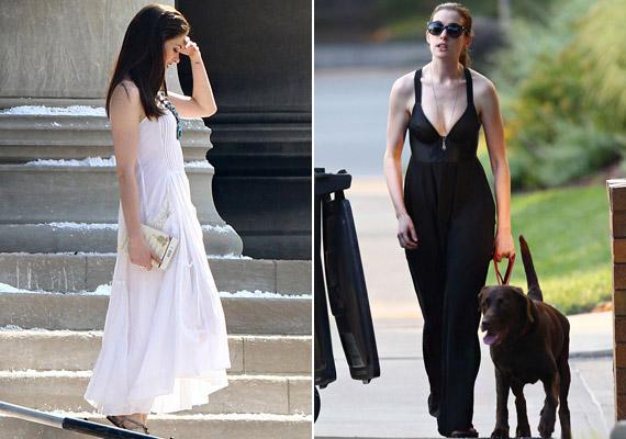 A 28 éves színésznő még a kutyasétáltatásnak is megadja a módját: fekete maxiruhában és hófehérben is felvonult.