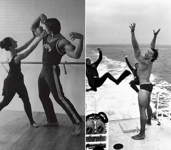 A bal oldali kép tanúsága szerint Arnie egy időben próbálkozott a balett művészetével, ám rájöhetett, hogy ez nem az ő testalkatához való. A jobb oldalon legalább ennyire furcsa dolgok történnek.