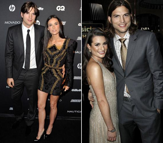 Ashton Kutcher nem Demi Moore-ral, hanem Lea Michele-lel flörtölt a New Year's Eve premierjén.