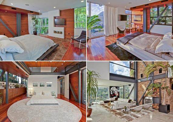 A házban öt háló- és nyolc fürdőszoba található. Mindegyiket minimalista stílusban rendezték be.
