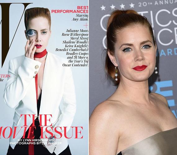 Amy Adams színésznőt a Nagy szemek - Big Eyes - című filmért jelölték a díjra. A 40 éves, vörös hajú színésznő címlapfotóin általában a buja szépségét hangsúlyozzák, ám a W magazin 2015 januári címlap igazán zavarba ejtő. Első pillantásra nem is lehet tudni, ki az a félig nagy szemű - nyilván a film címére utalnak ezzel -, fura nőszemély.