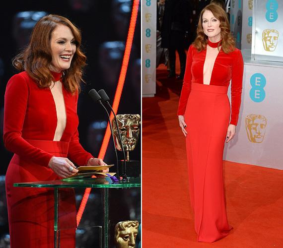 Julianne Moore egy feltűnő színű Tom Ford ruhát választott a díjátadóra, évekkel fiatalabbnak tűnt benne.