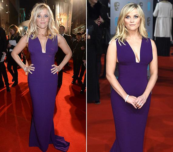 Reese Witherspoon lila Stella McCartney estélyiben jelent meg a vörös szőnyegen, a színésznőt a Vadon című filmért jelölték díjra.