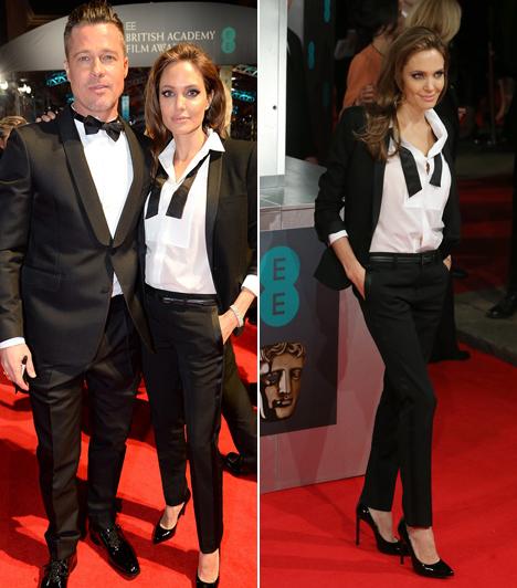 Angelina Jolie  A színésznő párját, Brad Pittet kísérte el az eseményre. Kivételesen nem estélyiben, hanem egy Saint Laurent öltönyben feszített a vörös szőnyegen. Kapcsolódó cikk: Ismét ő a vörös szőnyeg sztárja! Így néz ki Angelina Jolie a műtétje után