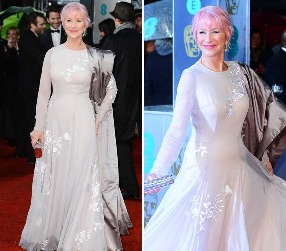 A Hitchcock sztárja, Helen Mirren mindenkit sokkolt rózsaszín hajával, később azonban a ruhájára terelődött a figyelem. Az est végén pedig megválasztották a legrosszabbul öltözött színésznőnek.