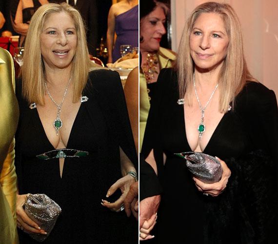 Az 1942. április 24- én született Barbra Streisand szinte köldökig kivágott ruháját egy ékköves csat fogta össze, és egy ugyanilyen színvilágú medál hívta fel a figyelmet a színésznő melleire.