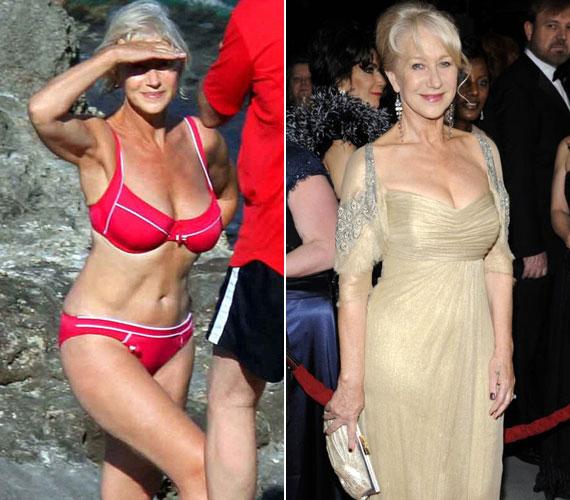 A 67 éves brit színésznő, Helen Mirren is káprázatosan néz ki. Amikor 2008 nyarán egy lesifotós lekapta piros bikiniben, a nők azonnal megrohamozták a boltokat az ominózus ruhadarabért. Aranyszínű ruhájában a 2011-es Golden Globe-gálán is sok tekintetet vonzott dekoltázsa.