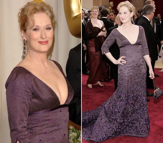 Még a többnyire visszafogott Meryl Streep is mutatkozott már merészen dekoltált estélyiben. A 63 éves színésznő a 2008-as Oscar-gálán lépett a vörös szőnyegre ebben a lila kreációban.