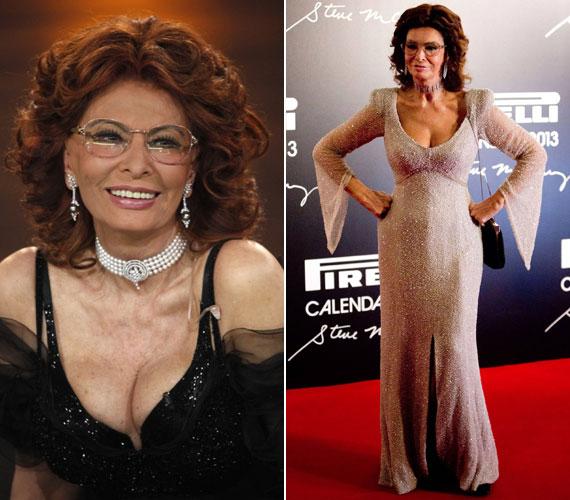 Sophia Lorenről sem mondanák meg sokan, hogy már 78 éves. Az olasz díva az év elején megrendezett Pirelli Calendar Launch-on jelent meg a jobb oldali, csillogó darabban.
