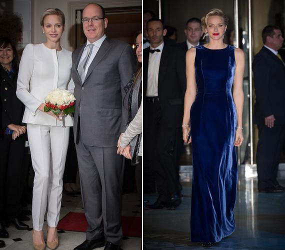 Charlene monacói hercegnő egy fehér kosztümben és egy kék bársony ruhában kápráztatta el a megjelenteket.
