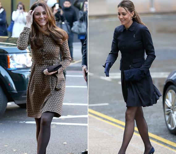 Katalin hercegnő először egy kabátruhában jelent meg, majd egy sötétkék összeállításban.
