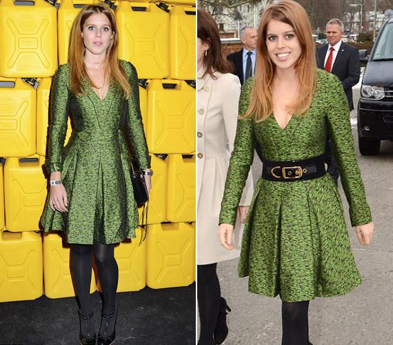 A vörös hajú hercegnőnek kifejezetten jól áll a zöld ruha. Bal oldalon a hétfői eseményen, a jobb oldali képen pedig 2012 januárjában Berlinben.