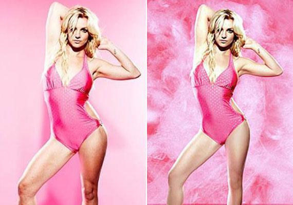 Britney Spears combjából és derekából is lefaragtak pár centit a szakemberek. Ezen az előtte-utána fotón jól látható a különbség.