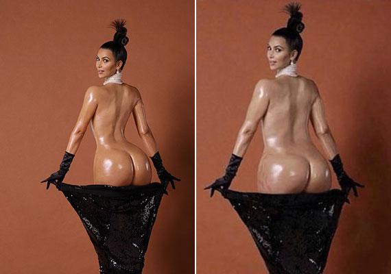 Kim Kardashian hatalmas meztelen fenekére bizonyára sokan emlékeznek a Paper magazin címlapjáról. A jobb oldali fotón a celeb retusált nélküli alakja, bal oldalon pedig a photoshopolt változat látható.