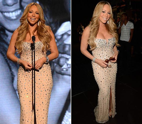 Mariah Carey csillogó, halványdrapp estélyiben tisztelgett Whitney Houston emléke előtt.