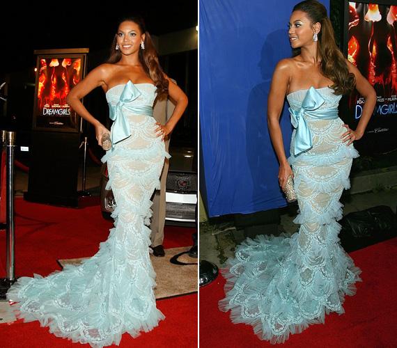 A Dreamgirls New York-i premierjére 2006 decemberében az énekesnő ezt a csodálatos halványkék Elie Saab ruhát választotta, mely gyönyörűen kihangsúlyozza homokóra alakját. A filmben Beyoncé is játszott, játékáért Golden Globe-ra jelölték.
