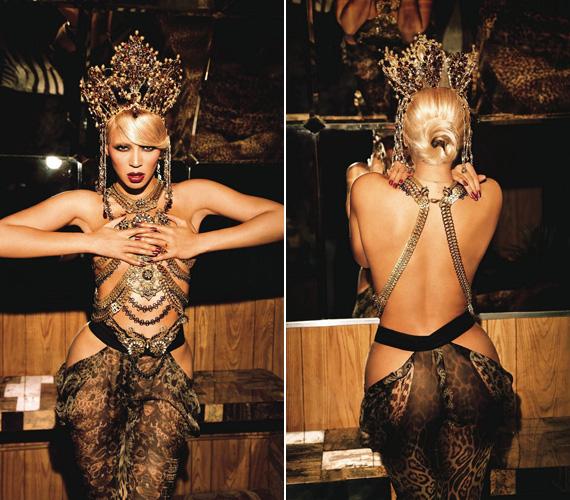 Az énekesnő nem szégyenlős, testét néhány felvételen alig takarja valami.