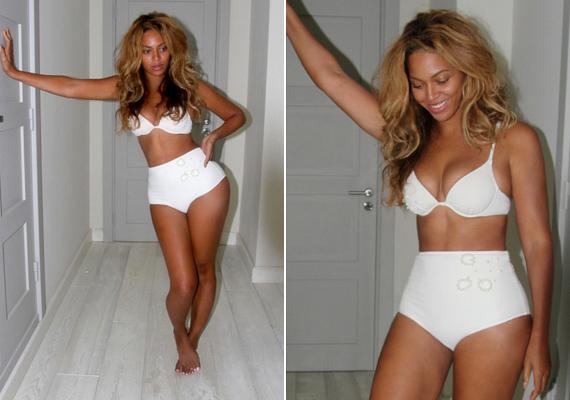 Beyoncé káprázatosan fest ebben a fehér együttesben. Fogadjuk, hogy a férje készítette róla a fotókat, és le sem bírta venni a szemét az énekesnőről!