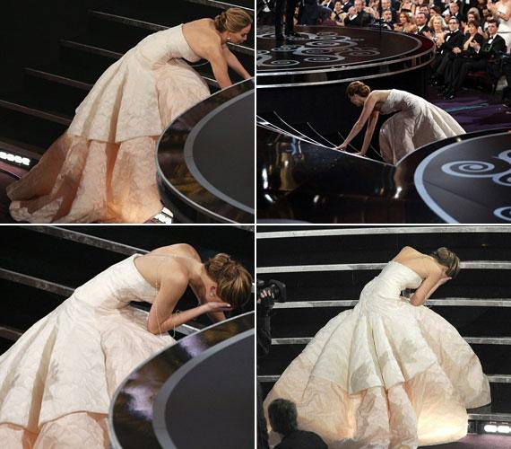 Jennifer Lawrence ennél rosszabbkor nem is eshetett volna el. Éppen az Oscar-díjért vonult ki, amikor a lépcsőn belegabalyodott hatalmas szoknyájába. Nagyon kínosan érezte magát.