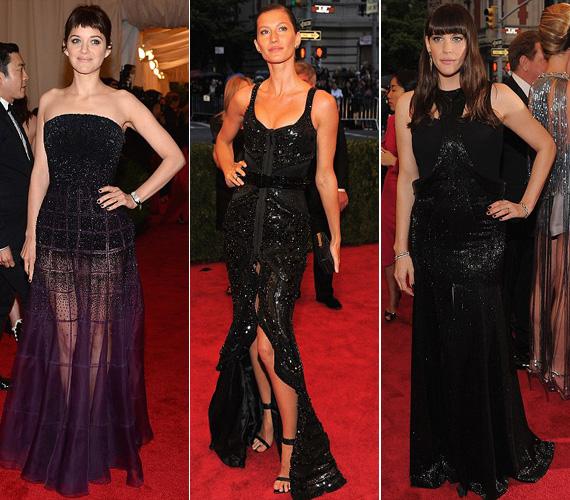 Marion Cotillard lila Diorja, Gisele Bündchen és Liv Tyler fekete Givenchy darabjai is a flitteres csillogásukkal hívták fel magukra a figyelmet.