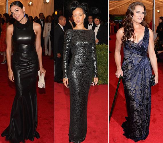 Rosario Dawson Calvin Klein testhezálló bőrruháját, míg Rihanna Tom Ford hasonló szabású, krokodilbőr darabját választotta a gálára. Brooke Shields 46 évesen is bátran bújhat kígyóbőr mintájú selyemruhába.