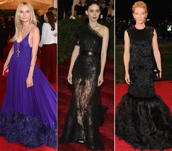 Diane Kruger lila Prada és Cate Blanchett fekete McQueen tollas ruhája is baklövés volt, míg Rooney Mara számára tökéletes választás volt a törékenységét kihangsúlyozó fekete, csipkés Givenchy.