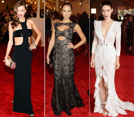 Miranda Kerr fekete Michael Kors, Jessica Alba mintás Tory Burch és Rooney Mara fehér Givenchy ruhájának is a mellrésze volt bevállalós.