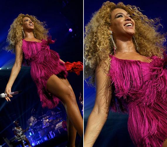 Beyoncé jó érzékkel választja meg fellépőruháit, élénk pink miniruhája feltűnő és szexis volt, de nem közönséges.