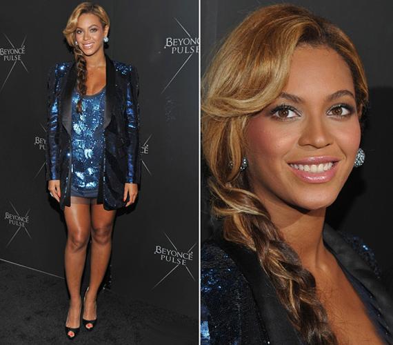 Az állapotos Beyoncé tetőtől talpig ragyogott - szó szerint és átvitt értelemben is - flitterekkel díszített, ultramini ruhácskájában.