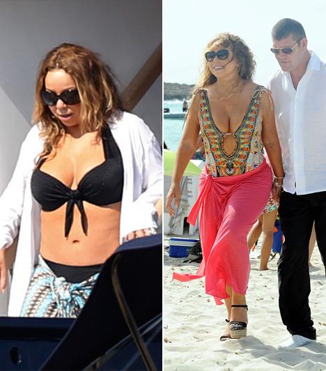 Mariah Carey  A 45 éves Mariah Carey egyáltalán nem fél bikiniben megmutatni nőies alakját.  Kapcsolodó cikk:  Szétnyílt Mariah Carey búvárruhája!