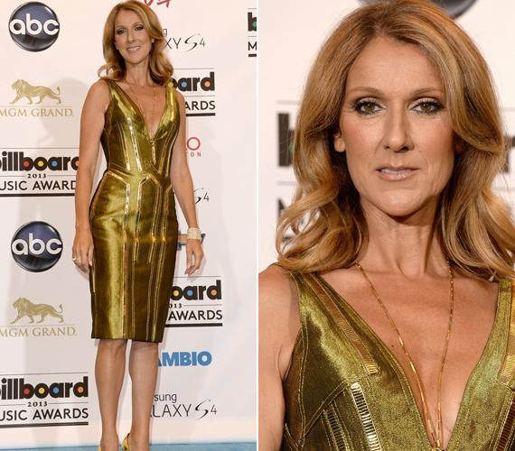 A 45 éves Celine Dion is aranyban tündökölt.