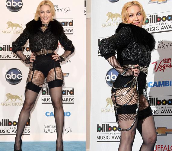 Material girl: az 54 éves Madonna nem sokat bajlódhatott az öltözéssel, kendőzetlenül tárta bájait a közönség elé.