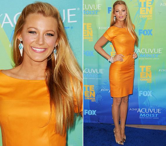 Blake a hétvégén tartott Teen Choice Awardson is feltűnést keltett, hiszen élénk narancssárga Gucci-ruhájában csak úgy virított a vörös - vagyis kék - szőnyegen.