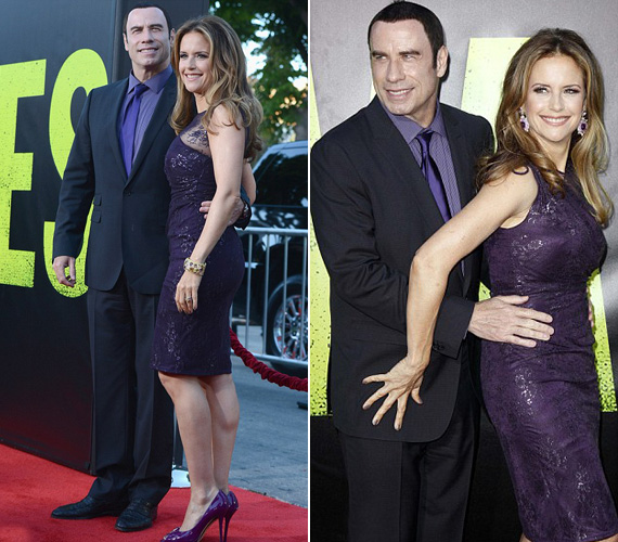 A férjével, John Travoltával érkező Kelly Preston is a csillogás mellett döntött: tetőtől talpig lilába öltözött.