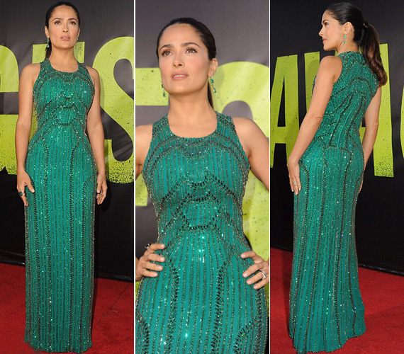 A filmben szintén szereplő Salma Hayek egy smaragdzöld, alakját kihangsúlyozó, csillogó estélyi mellett döntött.