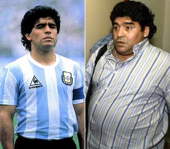Az 52 éves Diego Maradona, világbajnok argentin labdarúgó a hetvenes-nyolcvanas években volt a legjobb formában. Miután visszavonult, csúnyán elhízott.