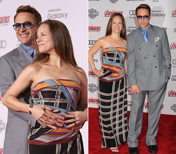 A Vasembert, azaz Robert Downey Jr.-t is elkísérte a felesége, akivel tíz éve mondták ki az igent. A nemrég az 50. születésnapját ünneplő színész láthatóan remekül érzi magát a bőrében, és szerelmesebb, mint valaha.