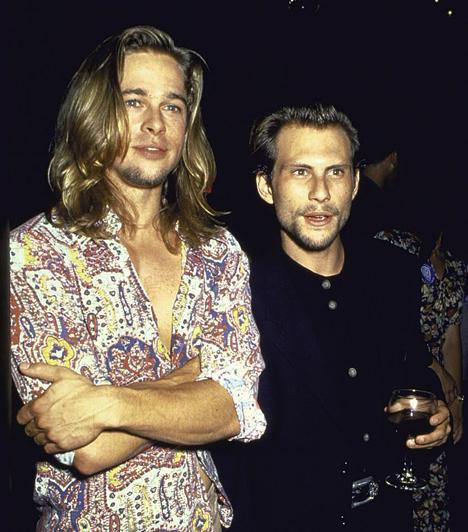 Christian Slaterrel  Brad Pitt és Christian Slater 1995-ben. A két színész az 1993-as Tiszta románc forgatása során barátkozott össze.