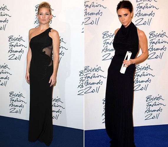 Victoria Beckham és Kate Hudson a klasszikus fekete estélyit választotta.